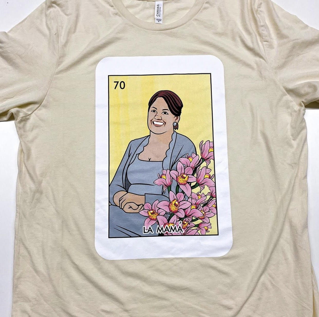 loteria shirt with water based screen printing